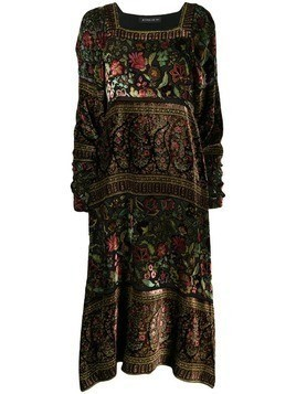 Etro floral paisley embroidered midi dress - Black