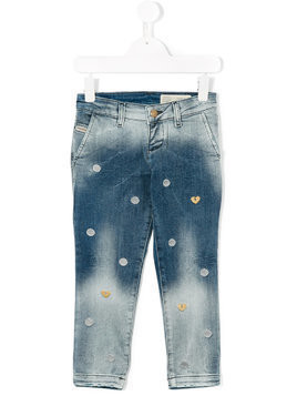 Diesel Kids heart and polka dot embroidered jeans - Blue