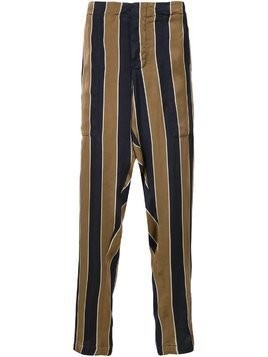 Uma Wang striped drop-crotch trousers - Brown