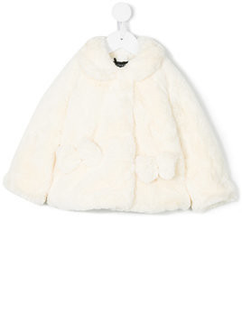 Monnalisa button-up fleece coat - White