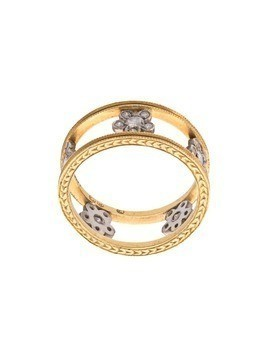 Cathy Waterman 22kt gold double milgrain floating flowers ring