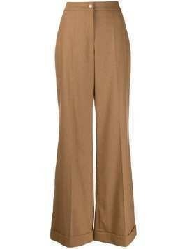Edward Achour Paris flared leg trousers - Brown