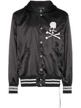 Mastermind Japan Hooded varsity embroidered jacket - Black
