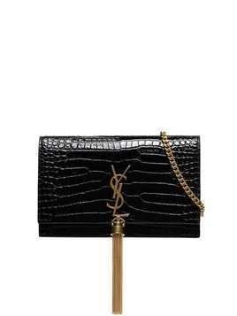 Saint Laurent Kate croc-effect clutch - Black