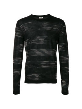 Saint Laurent embroidered long-sleeve sweater - Black