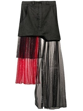 Barbara Bologna tulle panel denim skirt - Grey