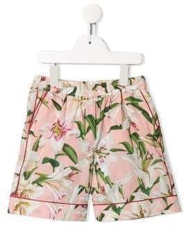 Dolce & Gabbana Kids lily print cotton shorts - Pink