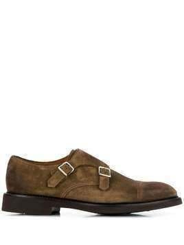 Doucal's buckle front monk shoes - Brown
