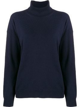 Closed roll-neck long sleeve jumper - Blue