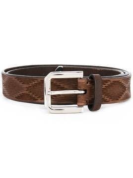 Brunello Cucinelli carved leather belt - Brown