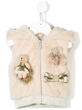 Lapin House Teddy fur vest - Nude & Neutrals