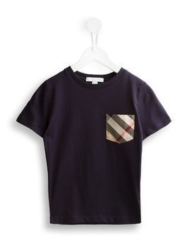 Burberry Kids Check Pocket Cotton T-shirt - Blue