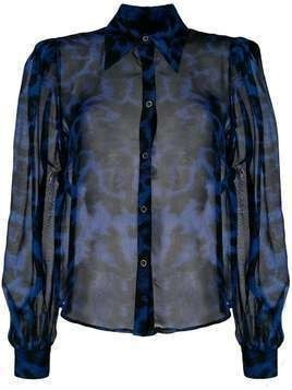 John Richmond leopard-print silk shirt - Blue