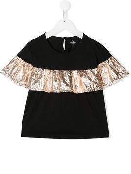 Andorine ruffled detail two-tone top - Black