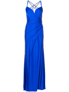 La Femme strappy draped evening gown - Blue