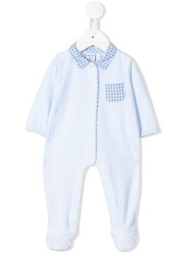 Absorba gingham-trim velour babygrow - Blue