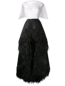 Isabel Sanchis feather-trimmed high-low Lengua gown - Black