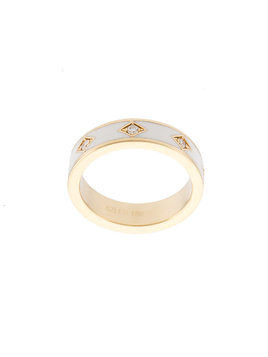 Azlee 18kt yellow gold white enamel white diamonds ring - Ylwgld