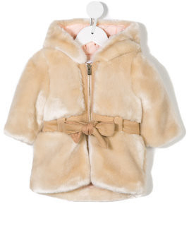 Chloé Kids belted hooded faux fur coat - Nude & Neutrals