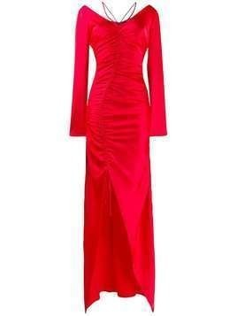 David Koma ruched evening dress - Red