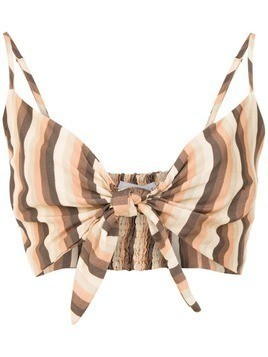 Amir Slama striped cropped top - Brown