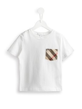 Burberry Kids Check Pocket Cotton T-shirt - White