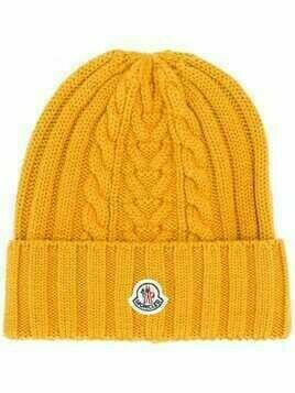 Moncler logo patch knitted beanie - Yellow