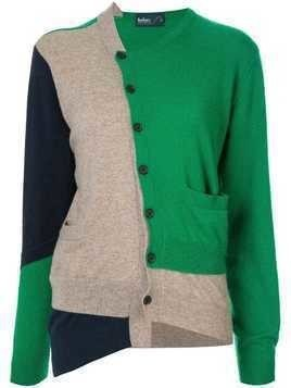 Kolor patch panelled cardigan - Green