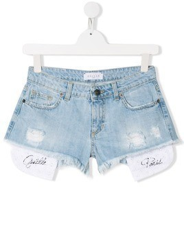 Gaelle Paris Kids distressed denim shorts - Blue