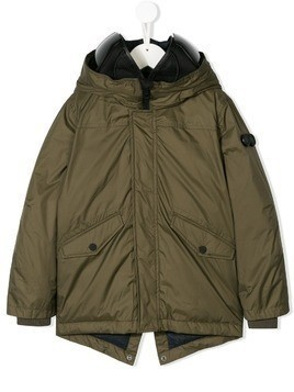 Ai Riders On The Storm Kids hooded parka coat - Green