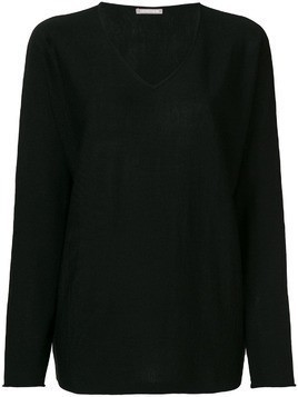 Hemisphere V-neck fine knit sweater - Black