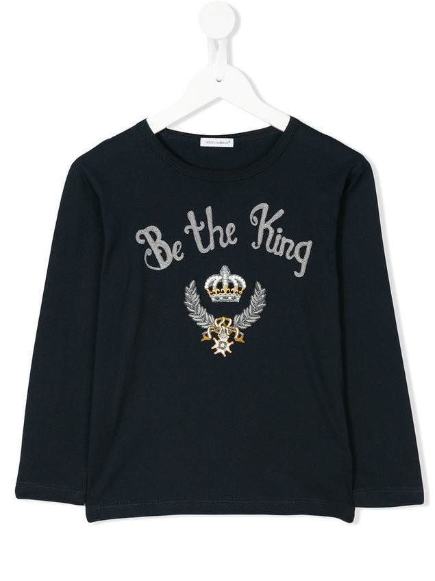 Dolce & Gabbana Kids Be The King embroidered top - Blue