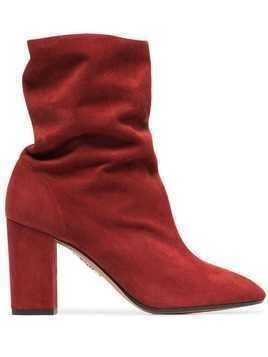 Aquazzura Boogie 85 Suede Ankle Boots - Red
