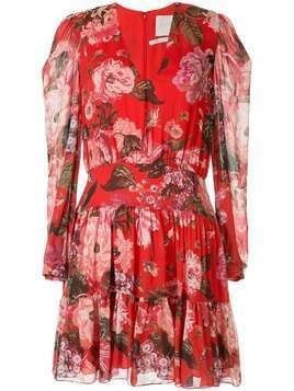 Ingie Paris floral long-sleeve shift dress - Red