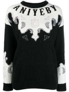 Aniye By embellished logo sweater - Black