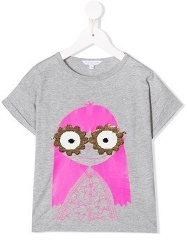 Little Marc Jacobs Miss Marc sequin sunglasses T-shirt - Grey
