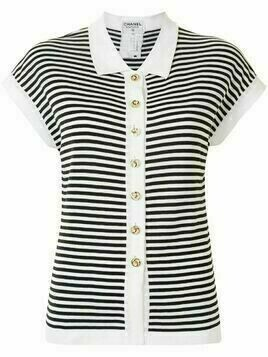 Chanel Pre-Owned striped knitted short-sleeved top - Black