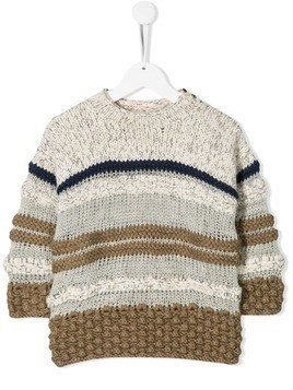 Pero Kids striped knitted jumper - Neutrals