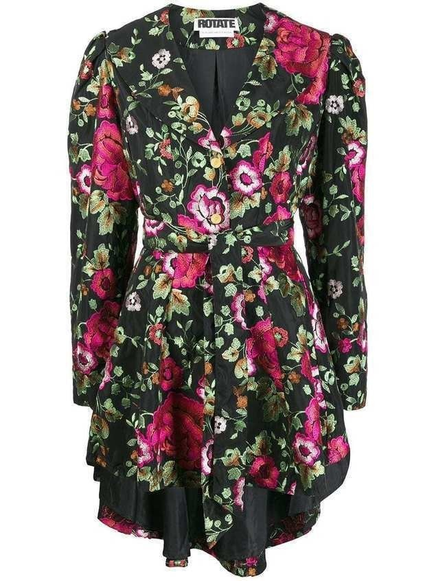 Rotate floral embroidered wrap dress - Black