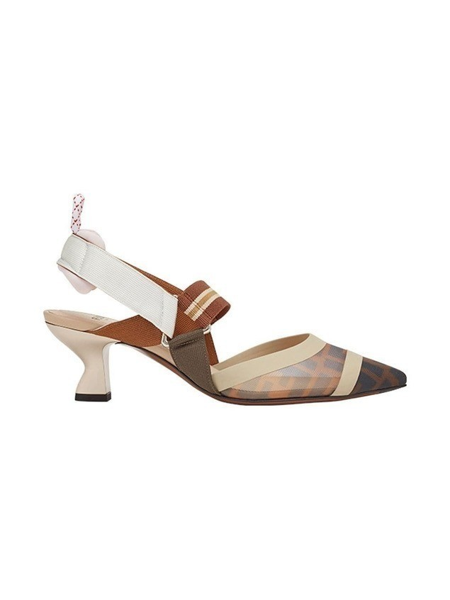 Fendi Zucca sports band slingback pumps - Brown