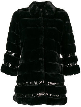 Twin-Set oversized fur coat - Black