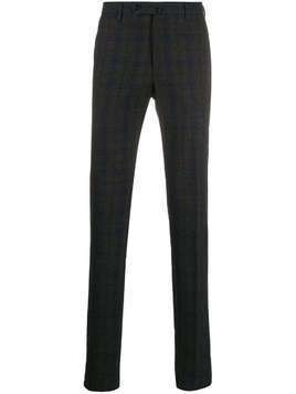 Incotex textured plaid patterned trousers - Blue