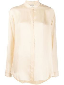Forte Forte band collar satin blouse - NEUTRALS