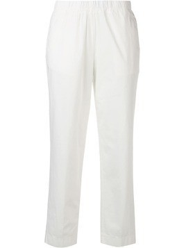 Kiltie cropped slim-fit trousers - White