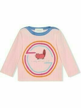 Gucci Kids Interlocking G cat-print T-shirt - PINK
