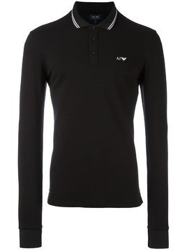 Armani Jeans embroidered logo polo shirt - Black