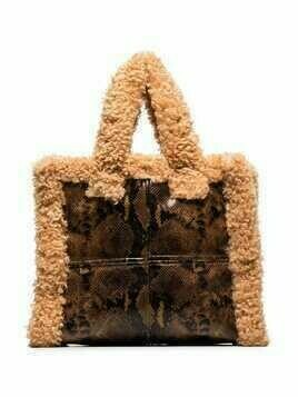 STAND STUDIO Lolita faux-shearling snake-print tote bag - Brown