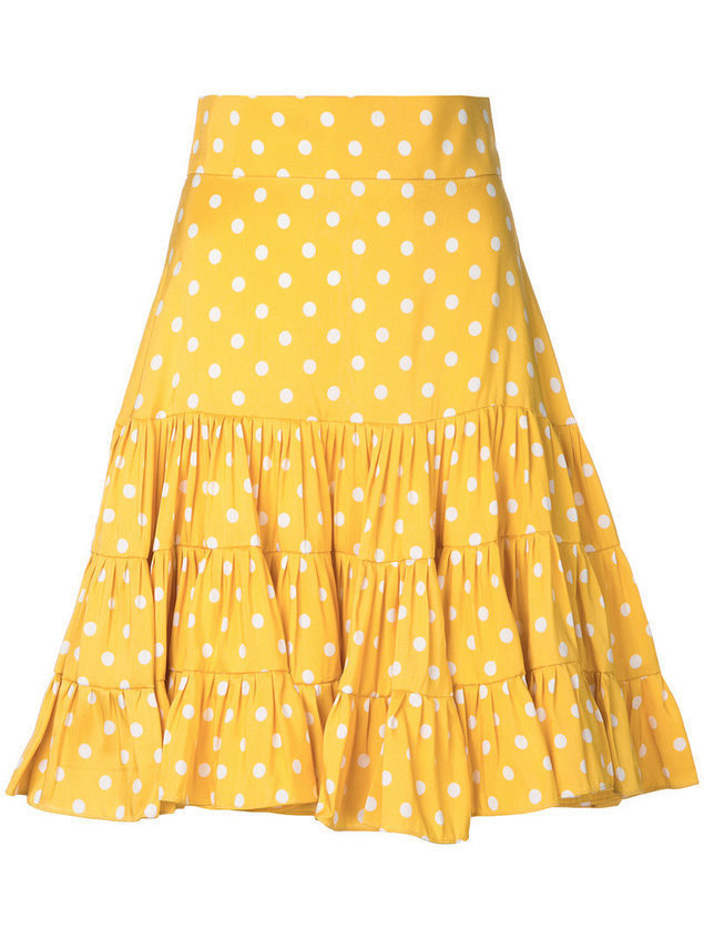 Bambah polka dot print silk skirt - Yellow