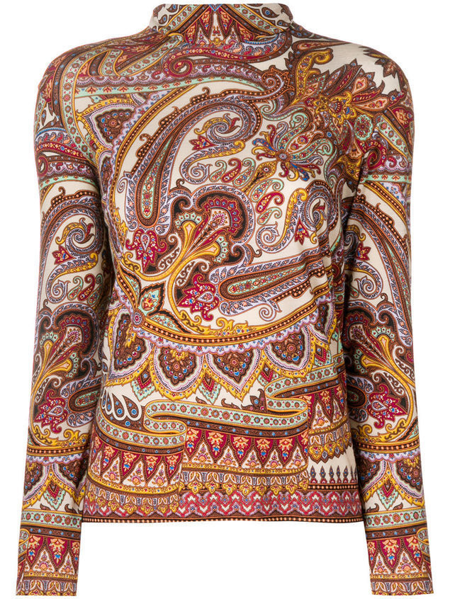 Etro high neck paisley print top - Brown