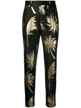 MSGM metallic palm tree trousers - Black